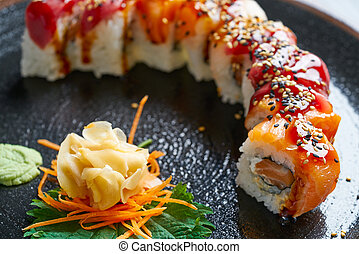 Rice Maki Sushi with salmon and tuna fish