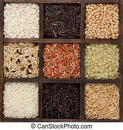 Rice nine varieties in a printers box