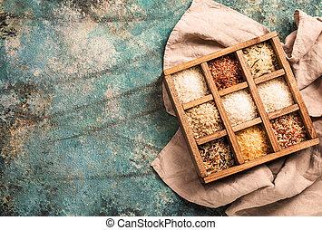 Rice nine varieties in printers box, jasmine, wild, white, pearl, forbidden, madagascar, jade, arborio, basmati