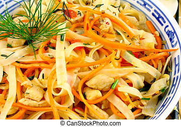 Rice noodle with chicken meat, chopsticks - Rice noodle with...