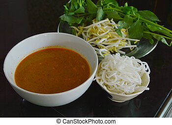 rice noodle with fish curry