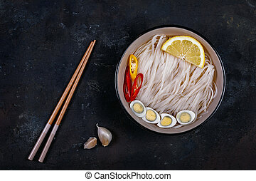Rice noodles asian cuisine - Rice noodles Asian cuisine with...