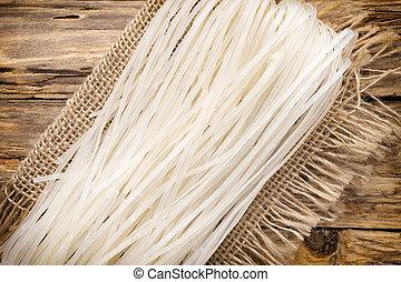 Rice noodles. - Rice noodles on linen napkins.