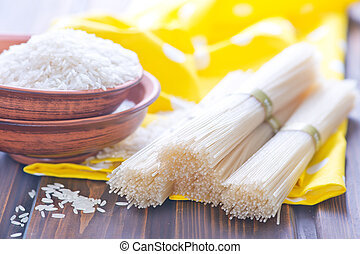 rice noodles and rice on a table
