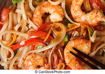 rice noodles with shrimp macro horizontal view from above - ...
