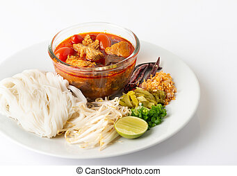 rice noodles with spicy pork sauce, Thai food