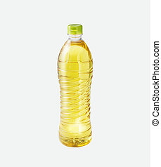 Rice oil in a bottle on isolated background
