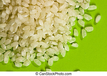 rice on green background