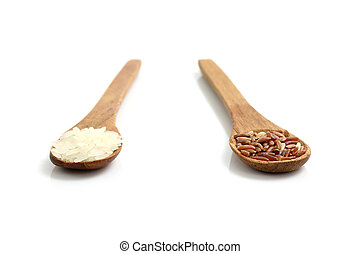 Rice on wood spoon isolated in white background