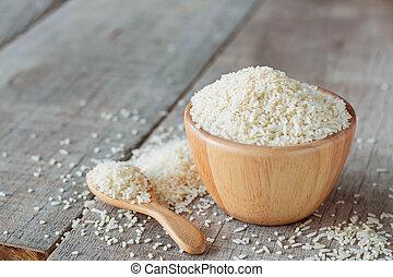 Rice on wooden.