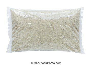 Rice packed in a plastic bag