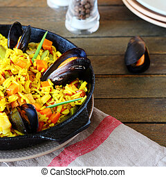rice paella with mussels