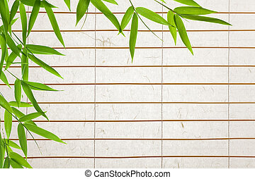 rice paper background with bamboo-leaves