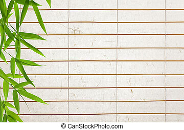 rice paper background with bamboo leaves
