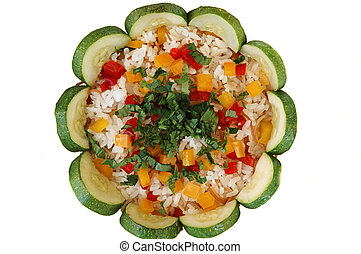 Rice Pilaf with parsley, zuccini, red and yellow pepper