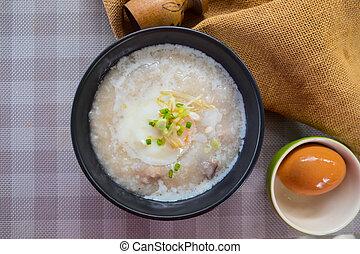 Rice porridge or congee. Delicious breakfast