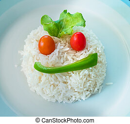 Rice shaped as a face