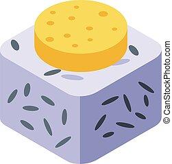 Rice sushi icon, isometric style