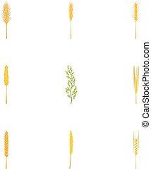 Rice ,wheat ,corn, rye, barley icons set, cartoon