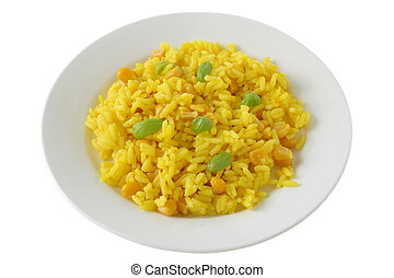 rice with corn on plate