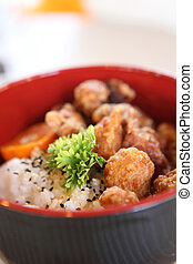 rice with fried chicken