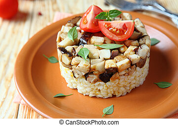 rice with fried mushrooms