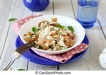rice with fried mushrooms in a bowl