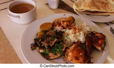 Rice with meat vegetables National Asian and Arabic cuisine