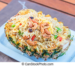 Rice with Pineapple - fried rice in pineapple