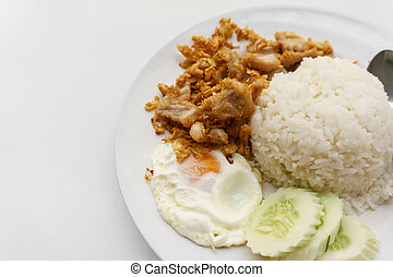 rice with pork fried with garlic and fried egg