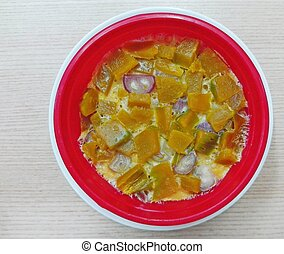 rice with pumpkin in a bowl