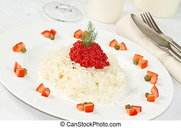 rice with red caviar