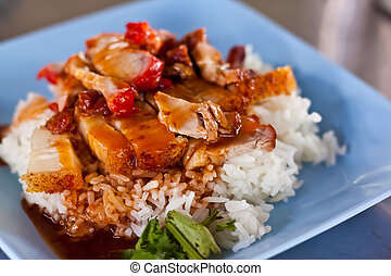 rice with red por
