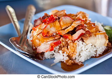 rice with red pork