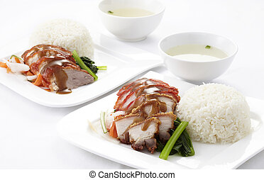 Rice with roasted duck and pork