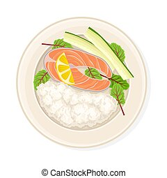 Rice With Salmon and Lemon Slice Served on Plate