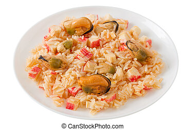rice with seafood on the white plate
