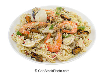 rice with seafood on white background