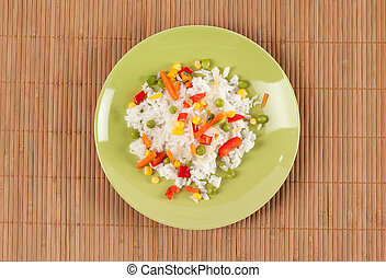rice with vegetables on a plate