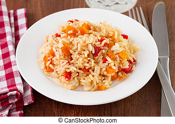 rice with vegetables on plate