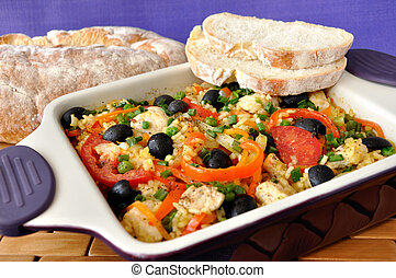 Rice with vegetables - Baked rice with chicken, vegetables...