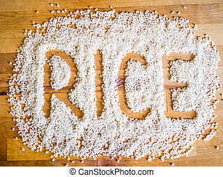 Rice word made of rice
