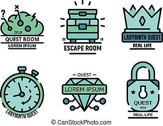 ricerca, appartamento, gioco, vettore, icone