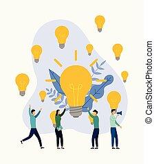 ricerca, concetto, affari, brainstorming., illustrazione, idee, vettore, nuovo, riunione