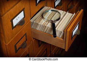 ricerca, concetto, biblioteca, cassetto, catalogo, scheda