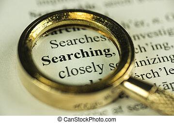 ricerca, concetto, con, closeup, oro