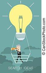 ricerca, concetto, illustration., affari, idea., cartone animato