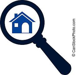 ricerca, concetto, sguardo, zoom, vettore, casa, icon., o