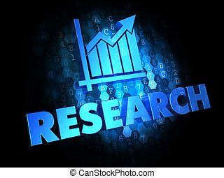 ricerca, concetto, su, scuro, digitale, fondo.