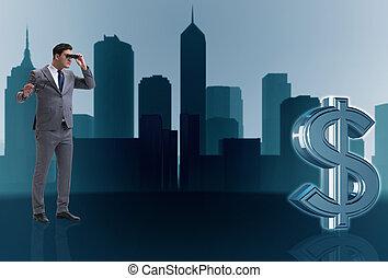 ricerca, dollaro, uomo affari